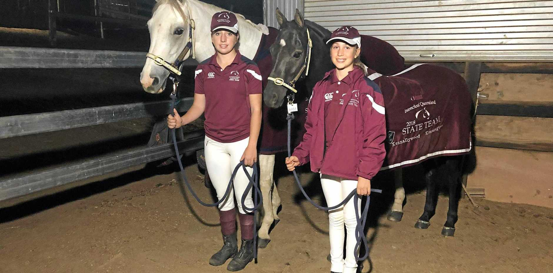 DOUBLE ACT: Jessica Fedrick, 17, and Clare Fedrick, 11, with their horses.