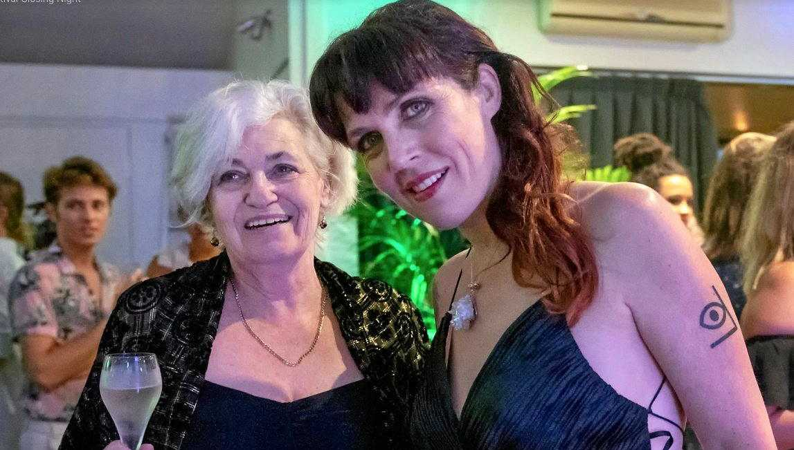 FESTIVE: Byron Bay Film Festival director J'aimee Skippon-Volke (right) and talent co-ordinator Sue Wiseman at last year's closing night event.
