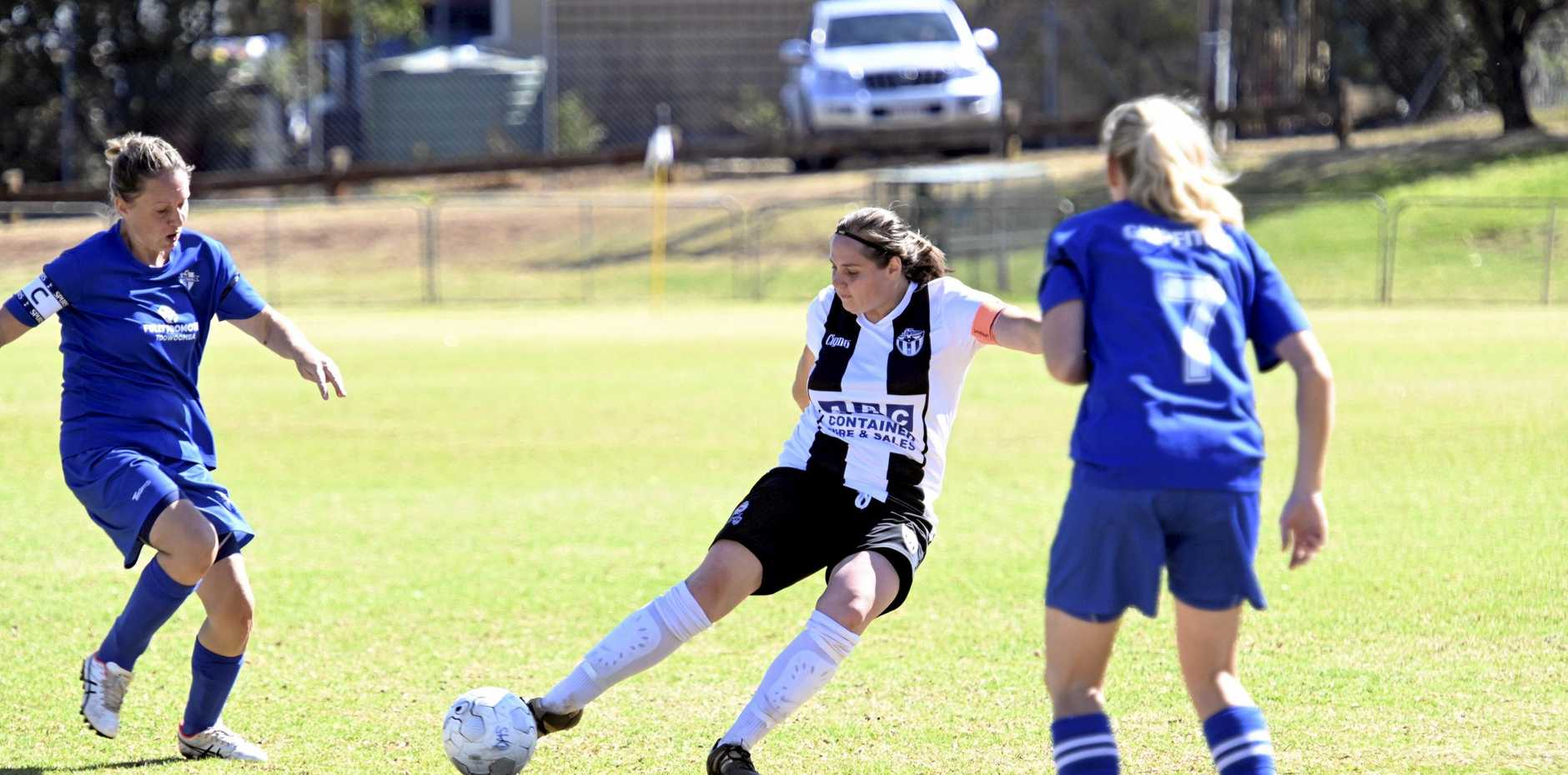 Goal score Kiarna Gray.  Willowburn : . Rockville vs Willowburn. Toowoomba Football, Commonwealth Oval. Women soccer. September 2019