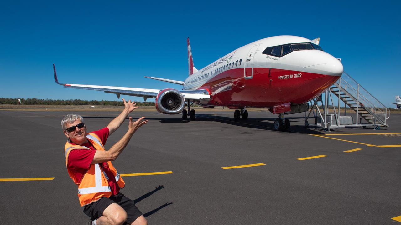 Chief Engineer Chris Vargo from Oklahoma USA with the Marie Bashir fire bomber at Coffs Harbour. Photo by Trevor Veale