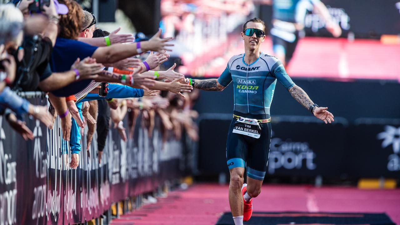 Triathlete Tim Van Berkel at the Asia-Pacific Championships at Cairns in June. He is gearing up to contest the Ironman 70.3 Sunshine Coast this weekend. Picture: Korrupt Vision
