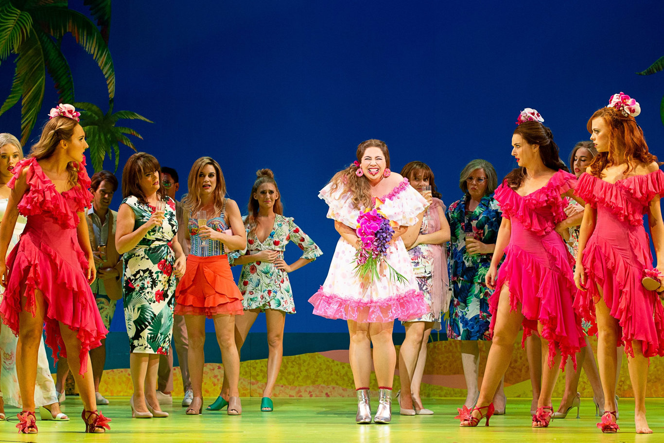 Natalie Abbott, centre, stars in her first leading role as Muriel in Muriel's Wedding the Musical.