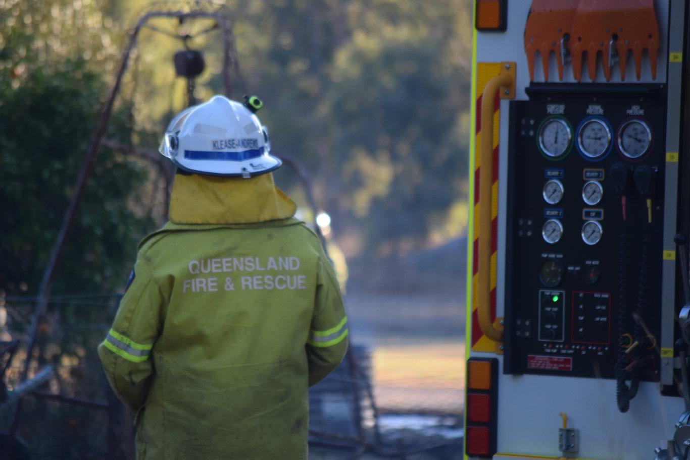 A back yard grass fire at a residence on Creek St Chinchilla.