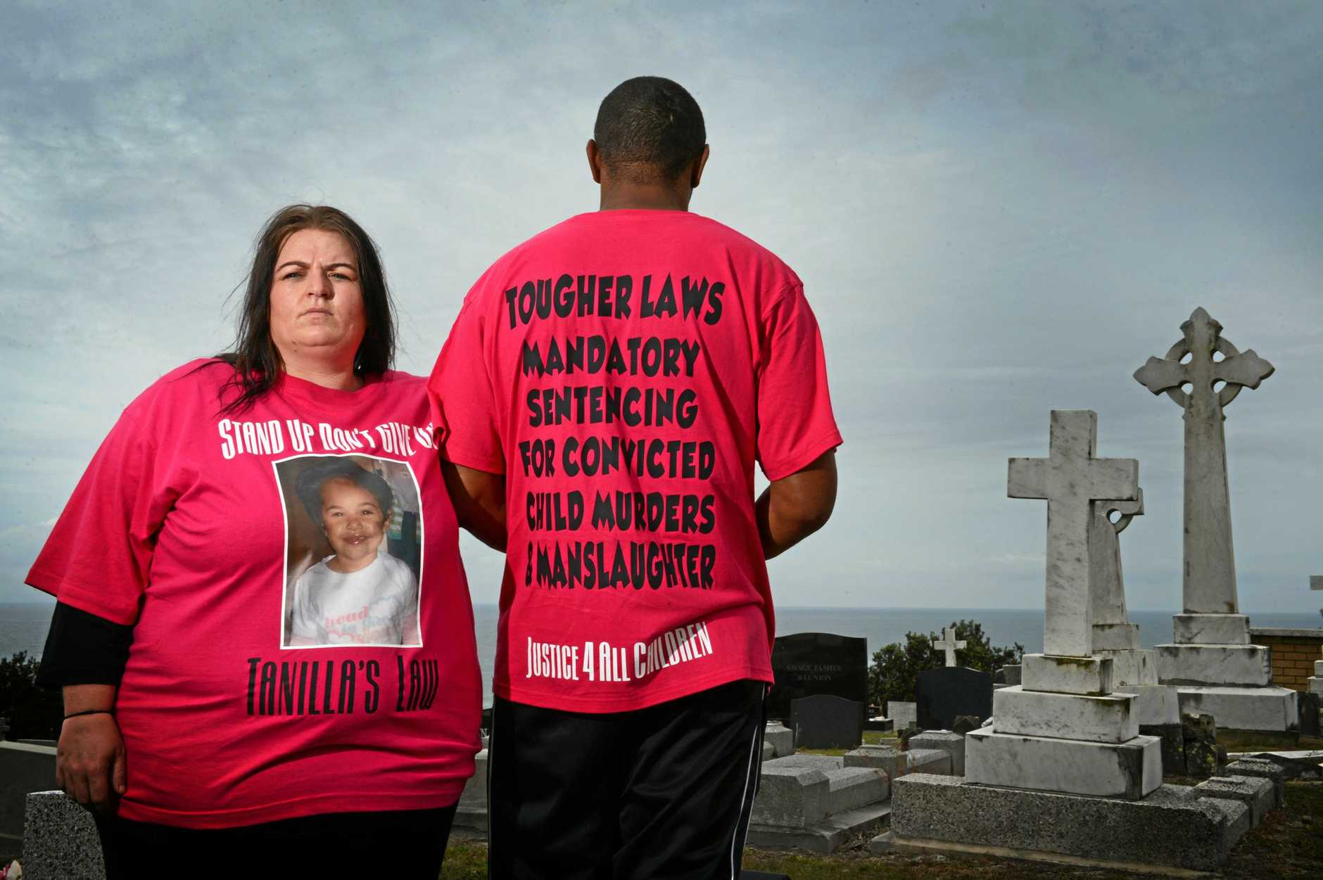 Adrian Warrick and partner Brooke Bowen, pictured at The East Ballina Cemetary where the grave of his daughter Tanilla is located, Tanilla was murdered in 2011. Photo Patrick Gorbunovs / The Northern Star