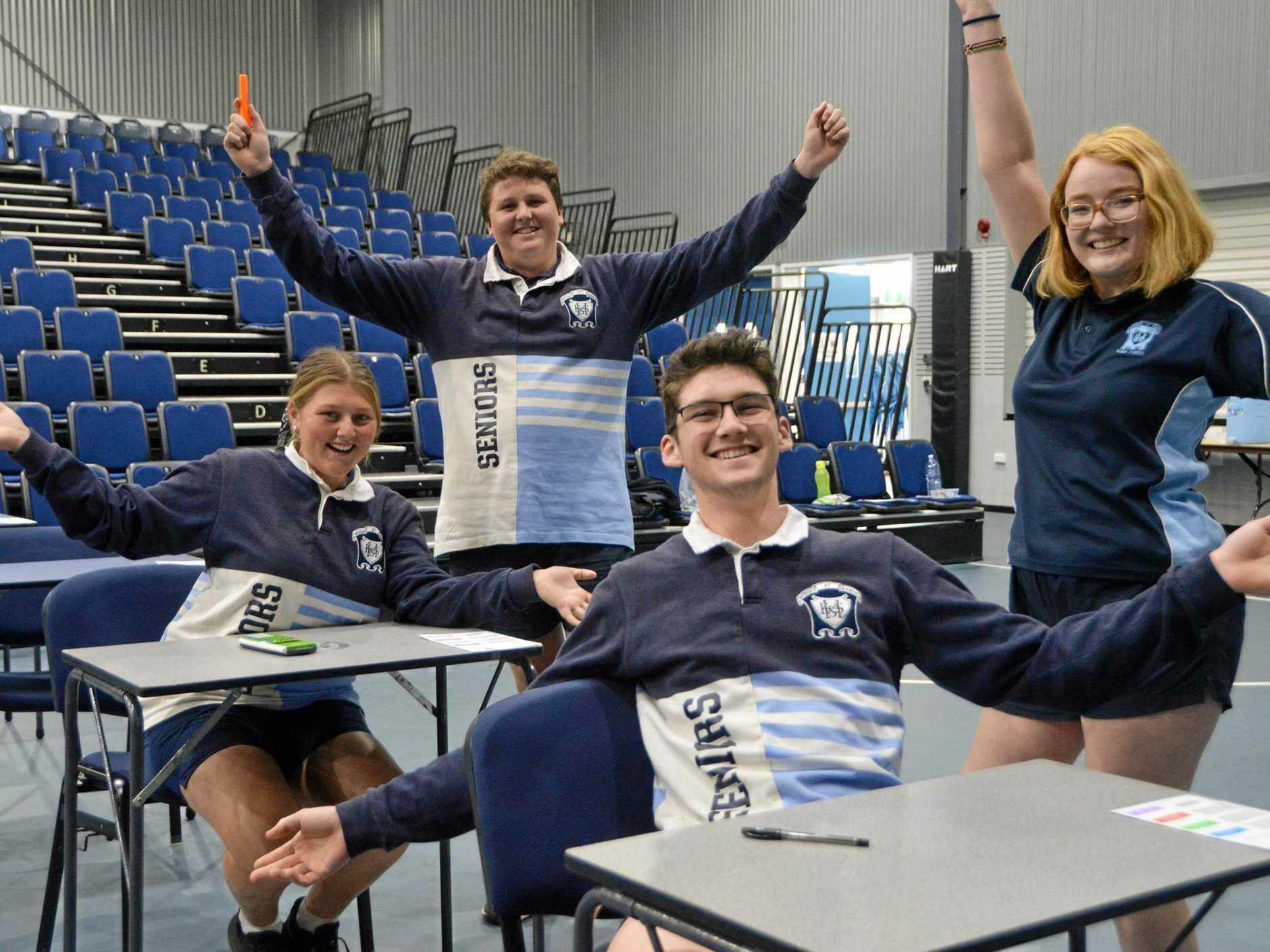 Kingaroy State High School students Xanthe Walker, Jake Sullivan, Jordan Buckley and Brenna Prendergast celebrate the end of the Queensland Core Skills Test.