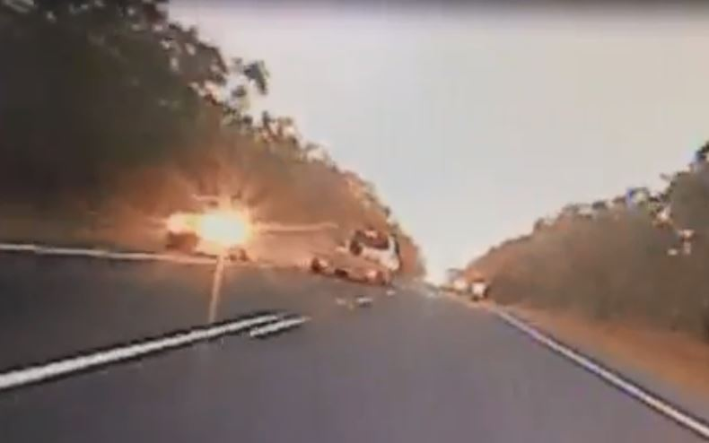 Dashcam footage shows a car having to move off the road after an incident of dangerous overtaking.