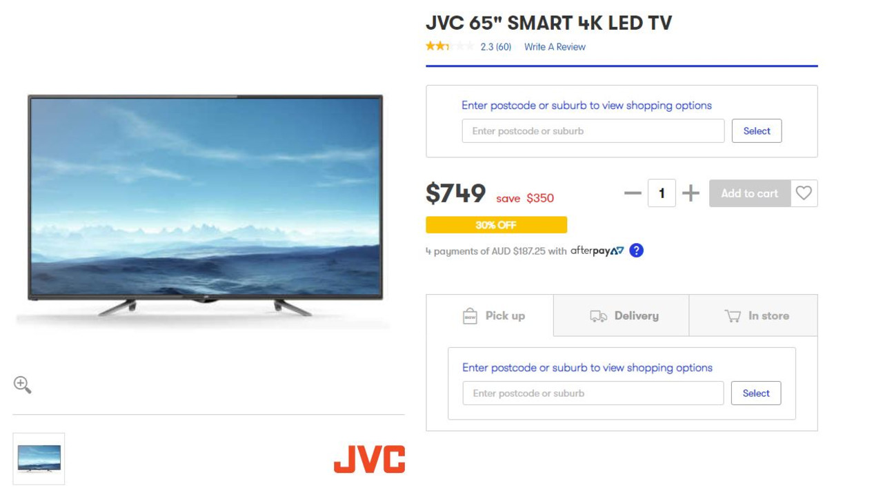 This JCV smart TV has been slashed in price. Picture: Supplied