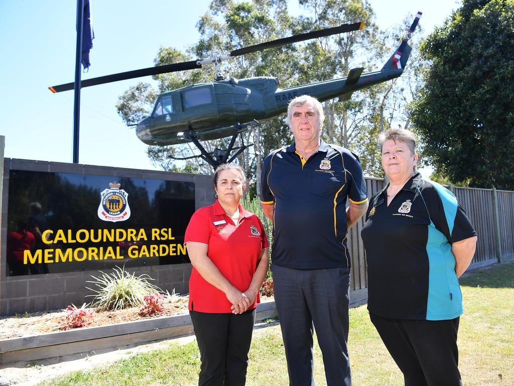Caloundra RSL have been told by Council they will be removing 7.5m of their memorial garden from their fence line to make way for a four-lane road, bike path and footpath. Pictured, Catherine Stamp, George Harris and Heather Christie. Photo Patrick Woods / Sunshine Coast Daily.