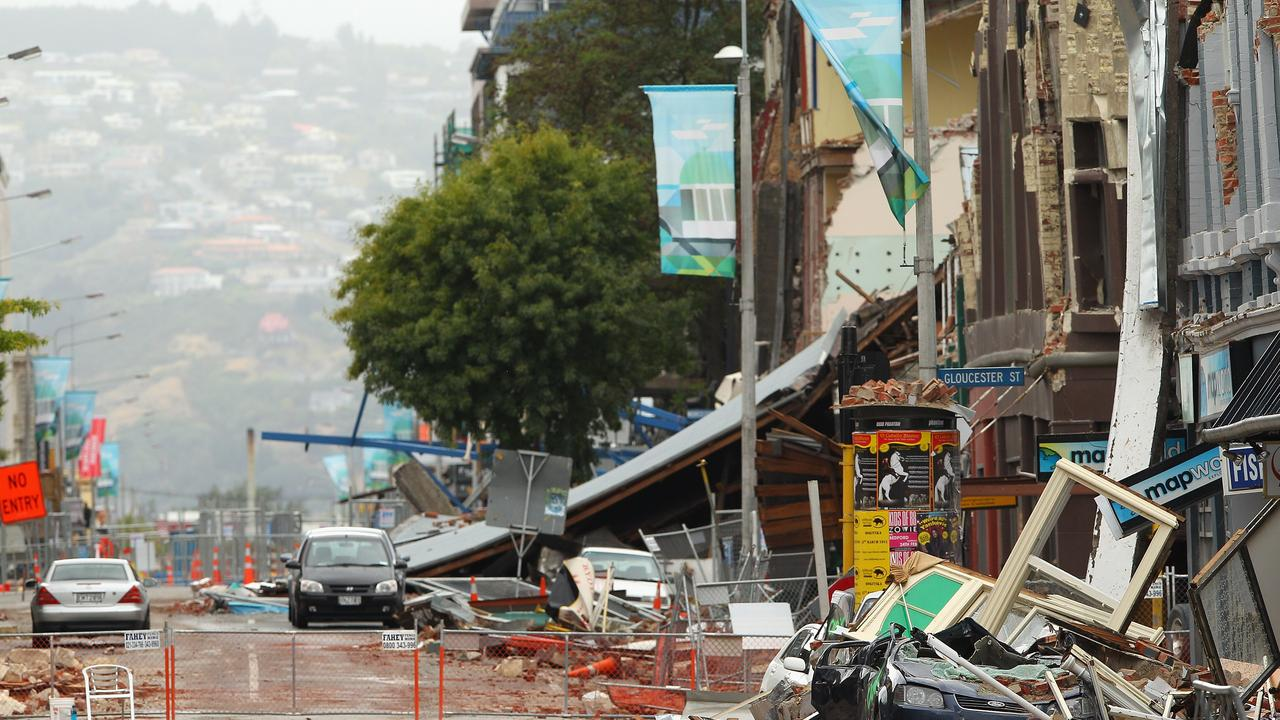 A deserted street in the cordoned off zone in Christchurch's city centre, after it was rocked by a 7.1 magnitude earthquake, killing 185 people.