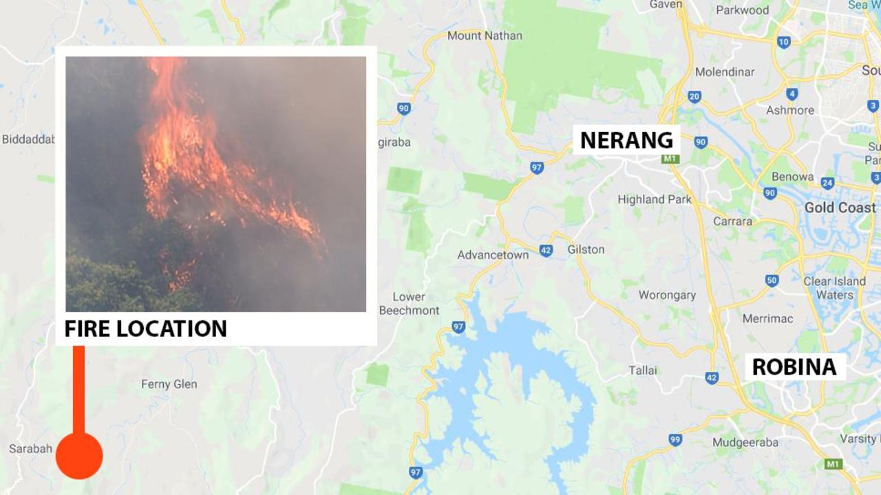 Where the bushfire is burning.