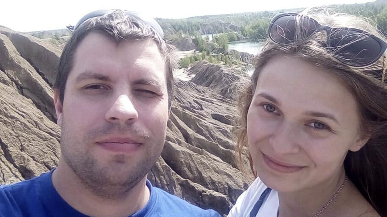 Yulia with her boyfriend Ilya, who helped find her parents online. Picture: East2west News