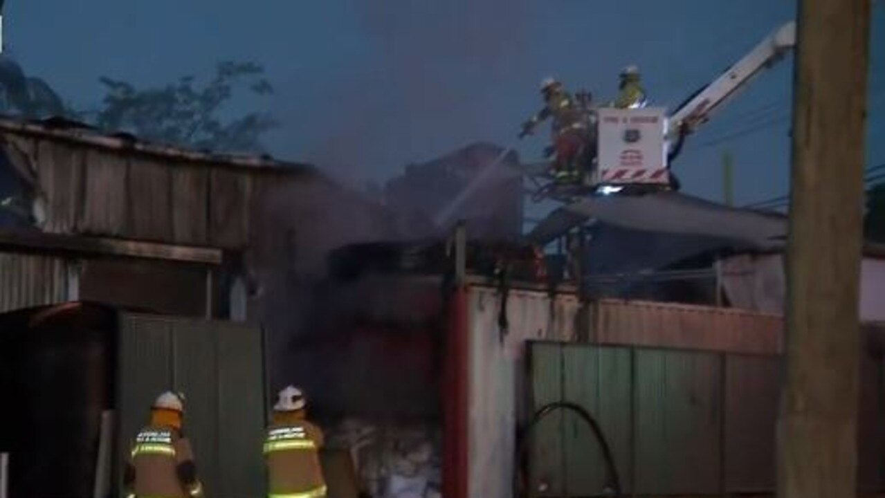 A laundry business in Moorooka has been destroyed by fire overnight. Picture: 9 News Brisbane