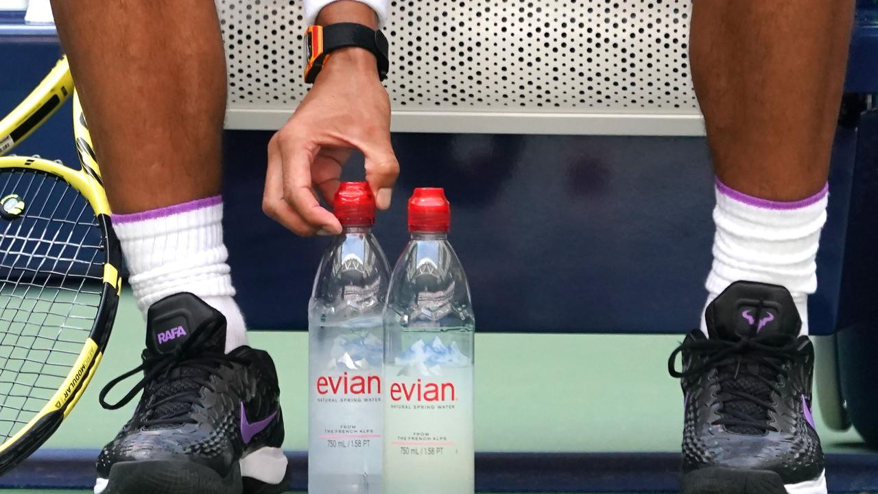 Rafael Nadal straightens his water bottles at every single change of ends.