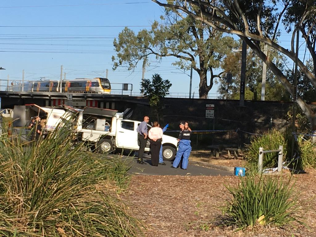 A crime scene has been established at Kalinga park after a woman's body was found. Picture: Nicole Pierre