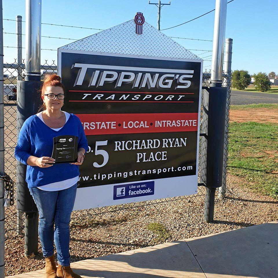 Sally Tipping with the TruckSafe award from earlier this year.