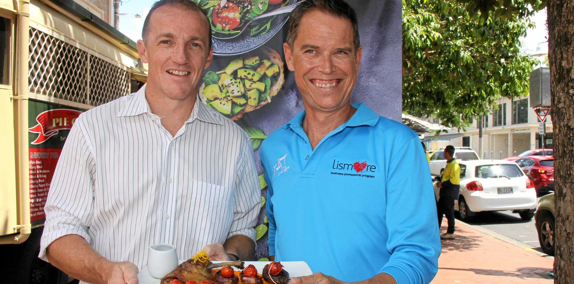 FILE: Lismore Mayor Isaac Smith and Andrew Walker ahead of the 2019 Eat the Street.
