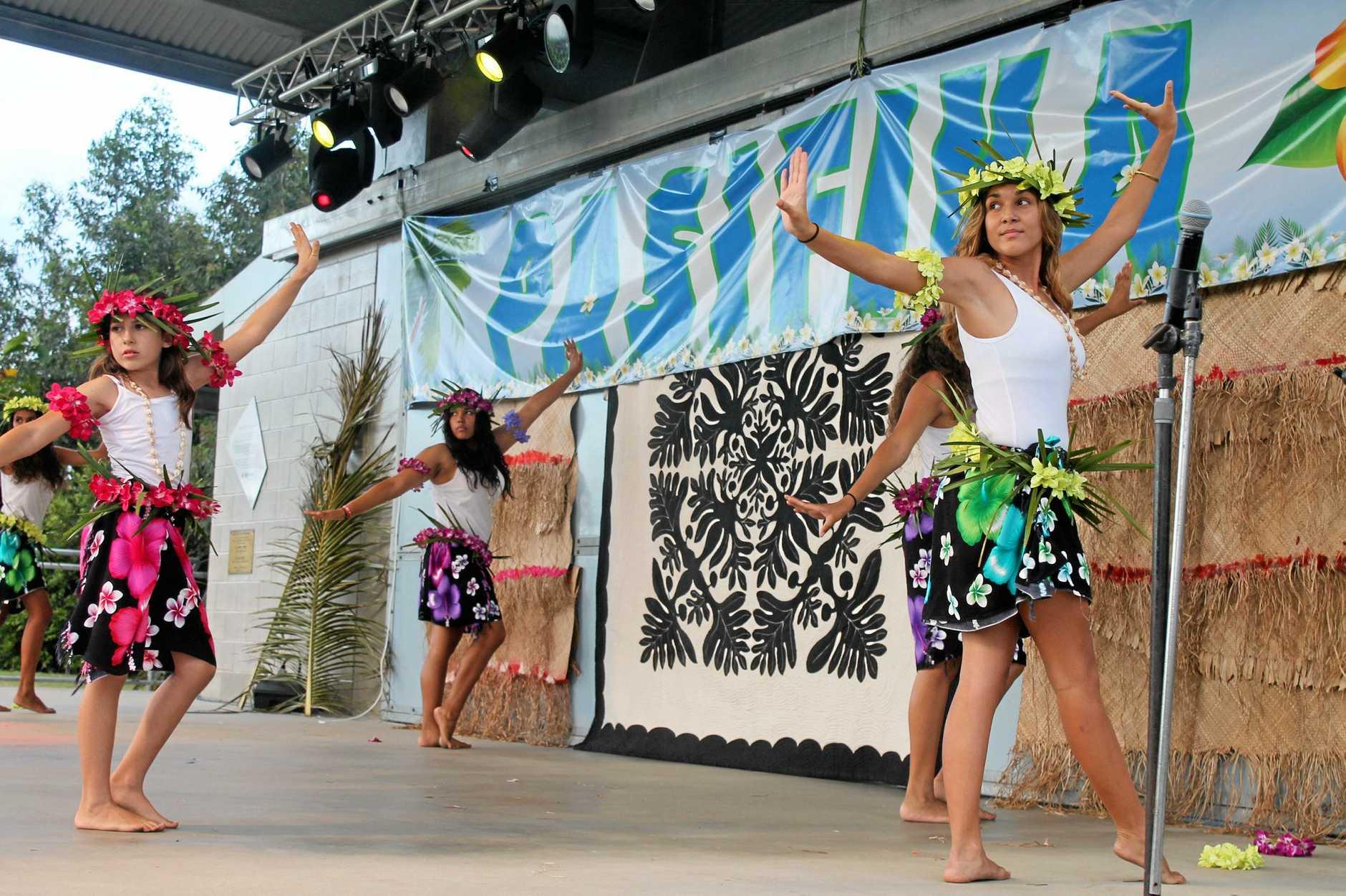 Helana King, Shauana Anson and Rashay Tass onstage at Pasifika 2016. Photo Lucy Smith / Daily Mercury