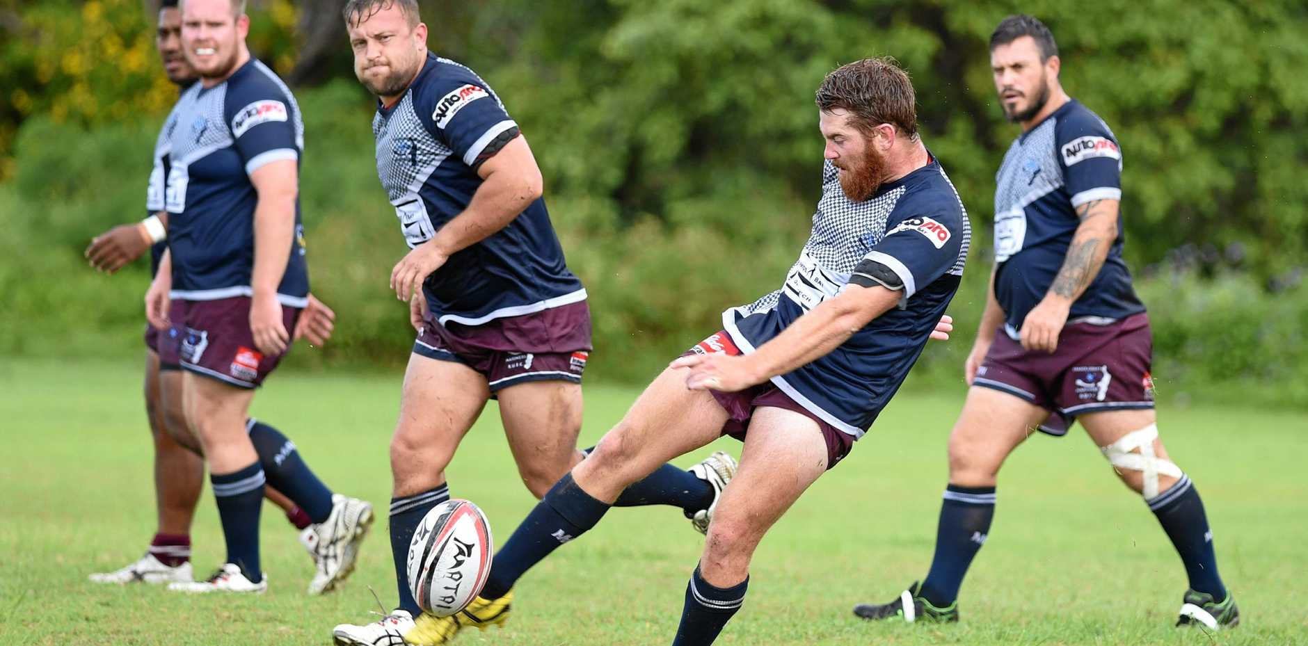 Rugby union - Fraser Coast Mariners v Gympie Hammers. Kale Hendle kicks for touch.