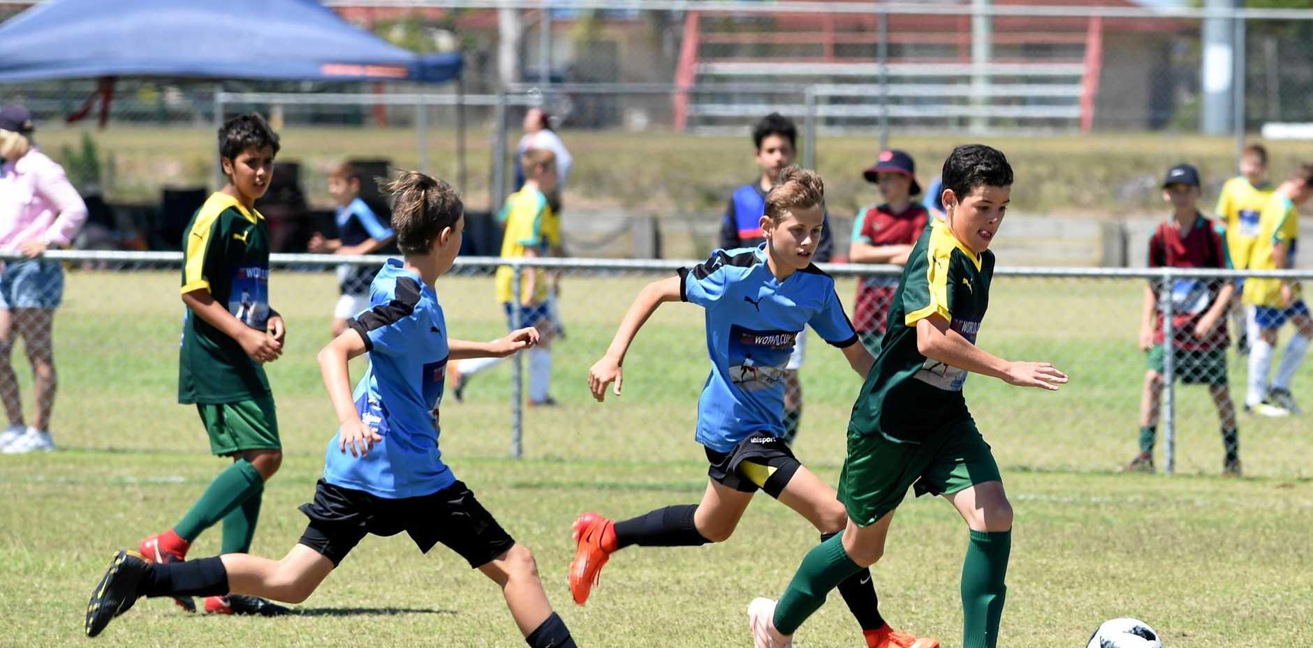 WORLD GAME: Australia (Toowoomba Gold) v Uruguay (Buccaneers) at the 2018 Joeys Mini World Cup at Hervey Bay.
