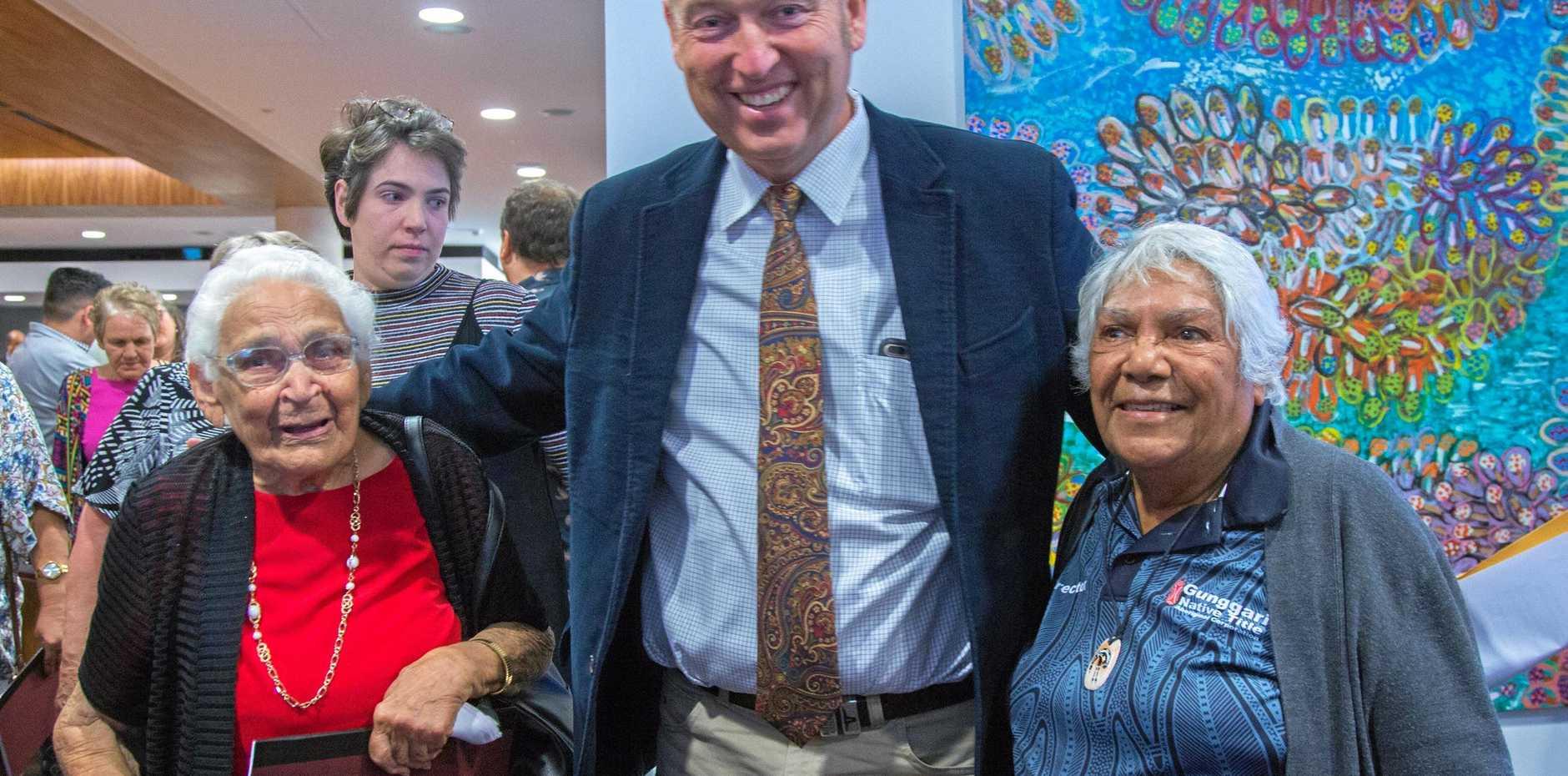 HISTORY: Gunggari elder Aunty Ethel Munn, Mayor Tyson Golder and elder Aunty Lynette Nixon.