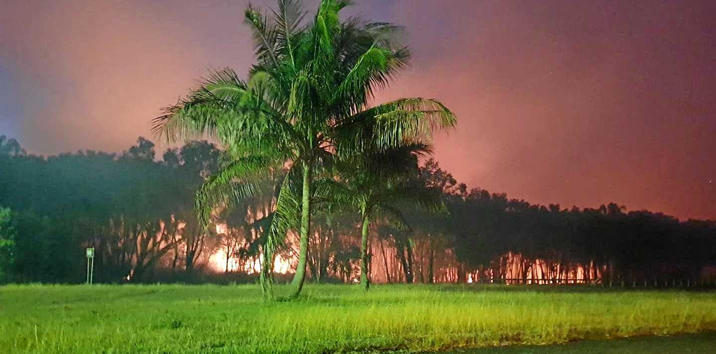 FIRES RAGE: Dee-Anne Emblem captured this amazing night image of the bushfire which continues to burn on the Capricorn Coast.
