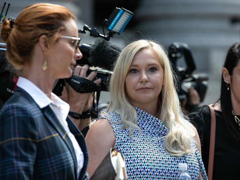 """VirginiaGiuffre, an alleged victim of Jeffrey Epstein, leaves court in the US. Of Prince Andrew she said: """"He knows exactly what he's done."""" Picture: Getty Images"""