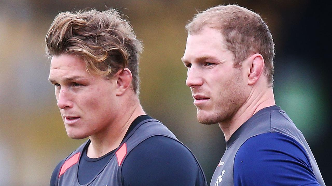 How Wallabies coach Michael Cheika will deploy Michael Hooper (left) and David Pocock at the World Cup is still under wraps. Picture: Getty Images
