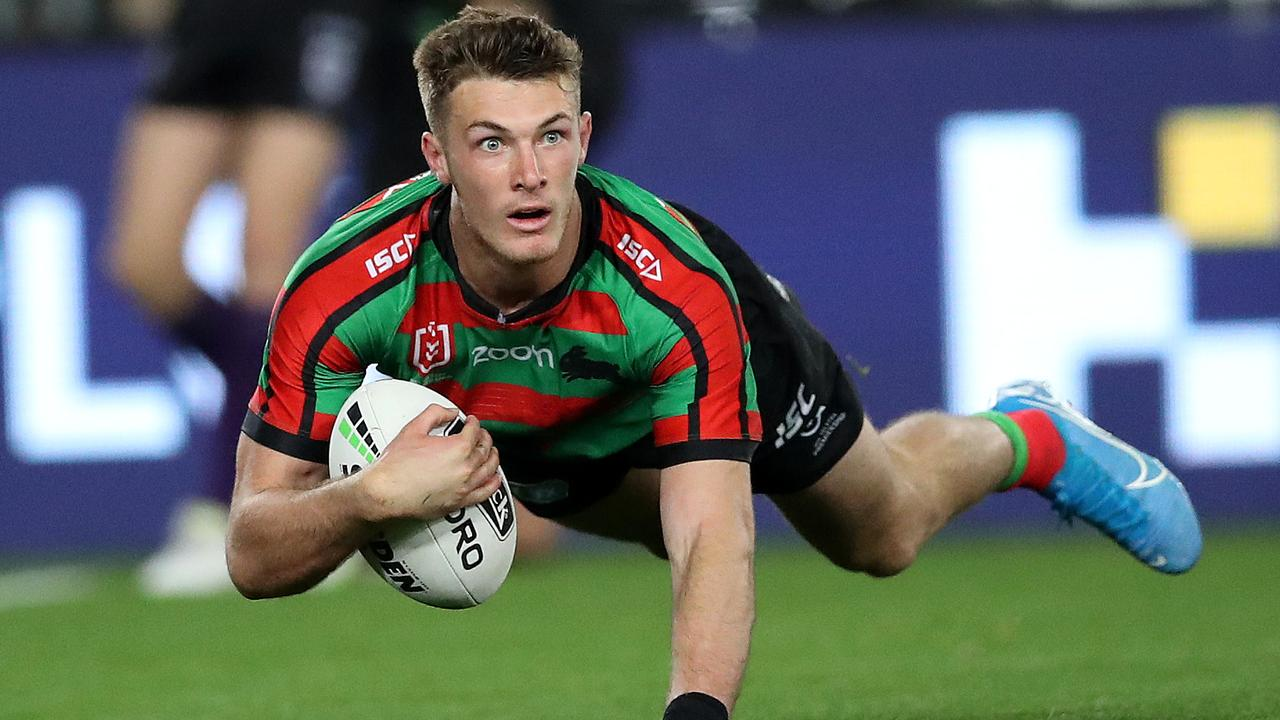 Campbell Graham crosses for South Sydney. Photo: Phil Hillyard