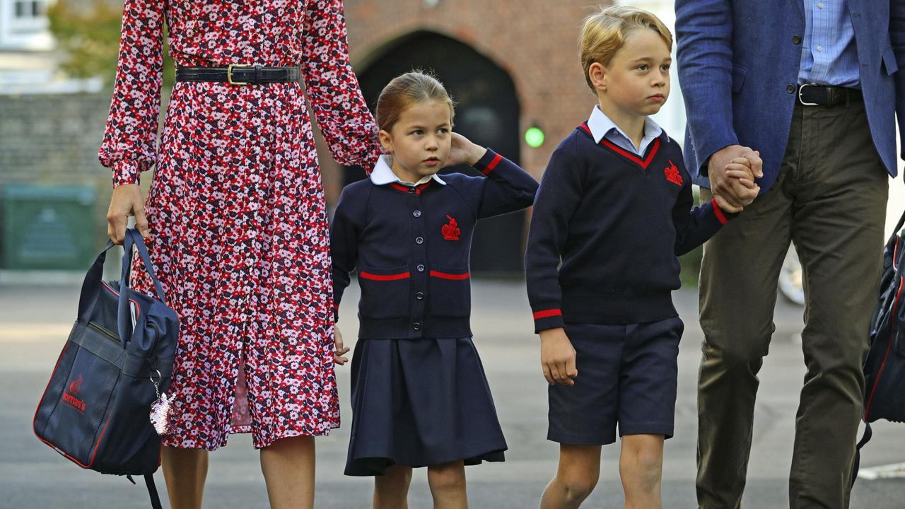 Princess Charlotte looked all grown up in her new school uniform as she started school today. Picture: AP.