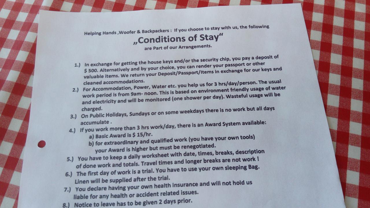 A 'conditions of stay' sheet handed to guests.