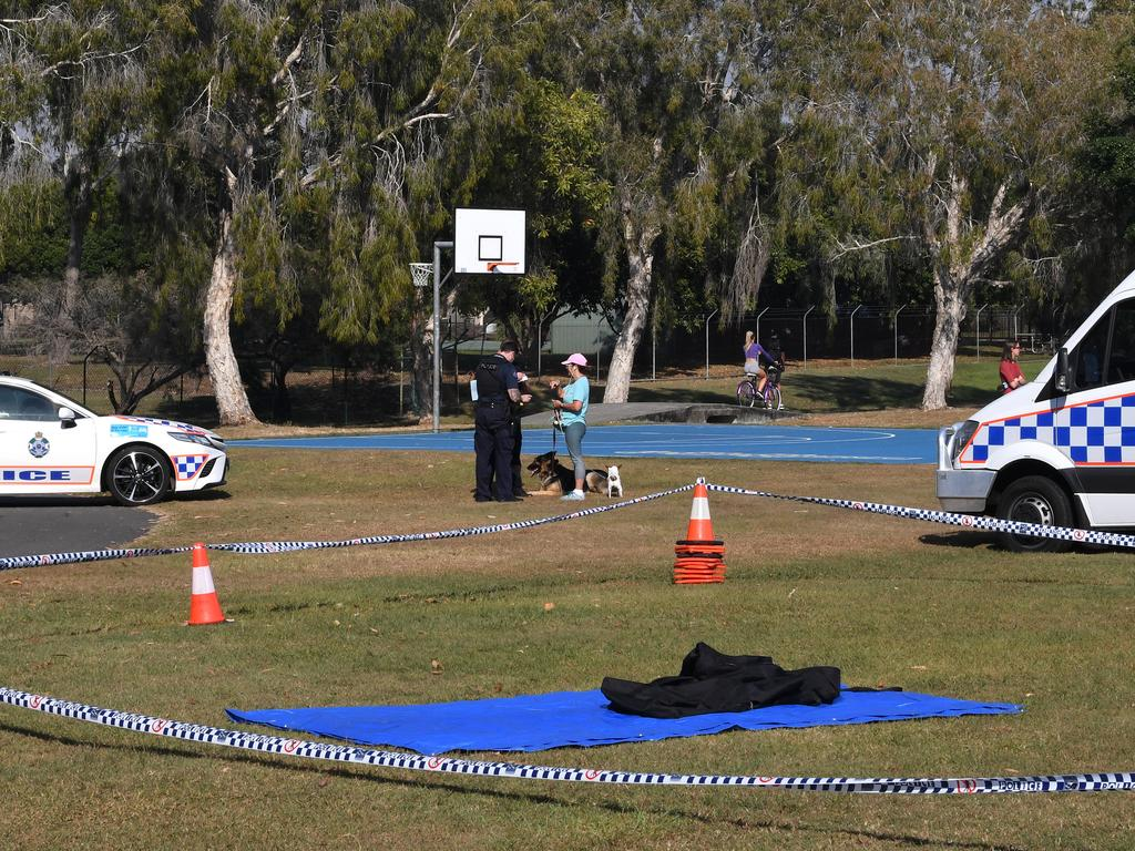 Police were still at the scene of the fatal stabbing yesterday. Picture: Dave Hunt/AAP