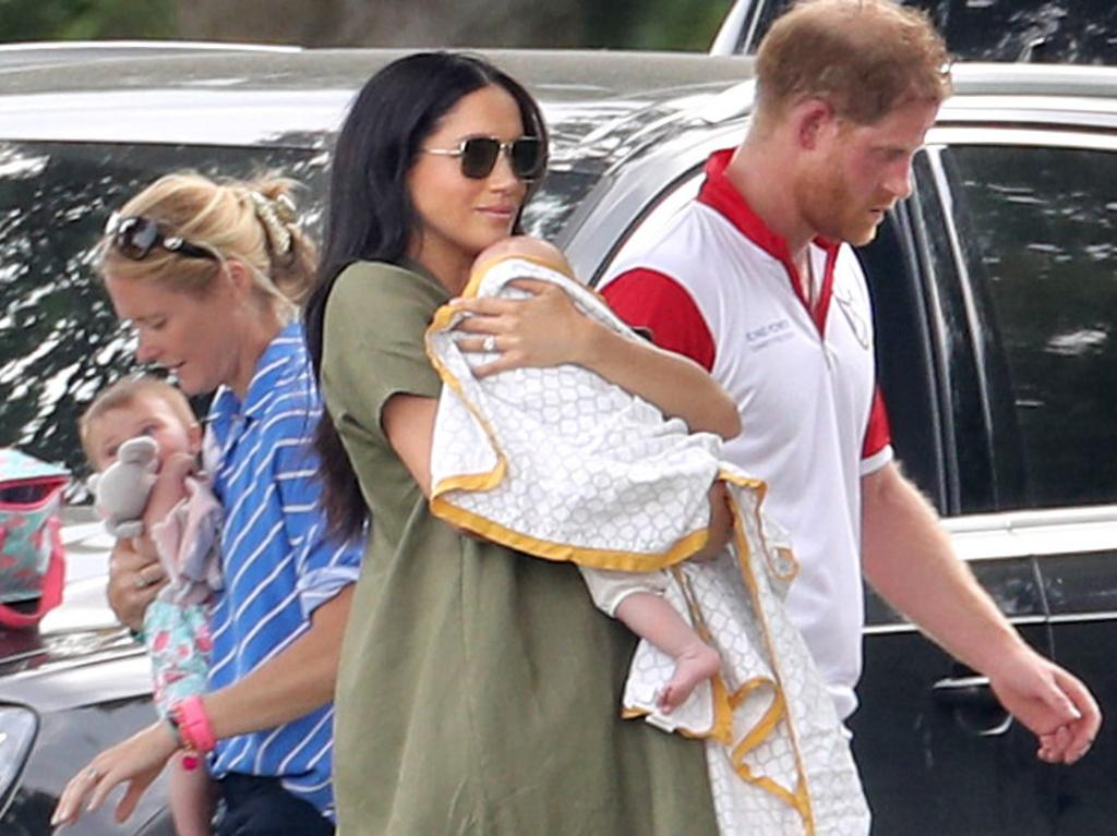 The royal couple must have been embarrassed when it came out this blanket they wrapped Archie in was made in a sweatshop. Picture: Chris Jackson/Getty Images