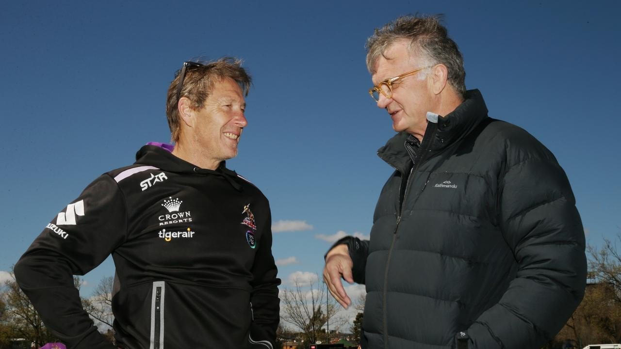 Craig Bellamy chats with John Ribot at training in 2016. Picture: Colleen Petch