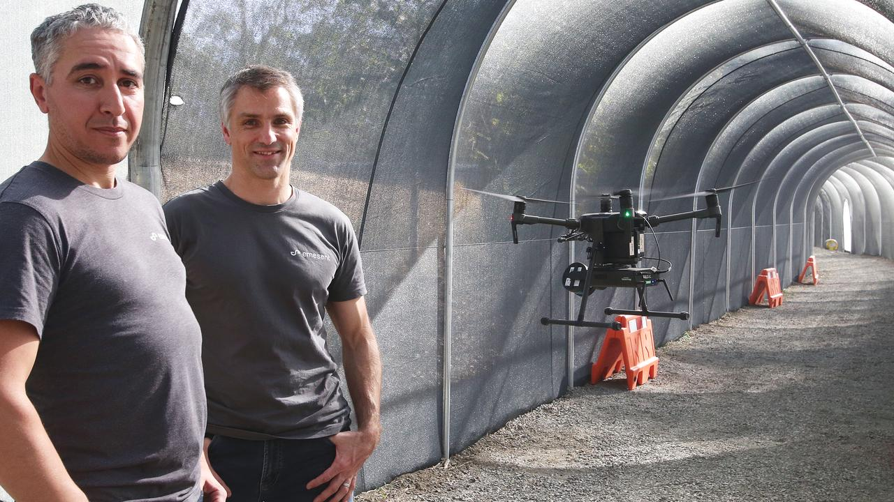 Emesent founders Stefan Hrabar and Farid Kendoul have grown their manufacturing business, selling their Hovermap technology made in Pullenvale around the world.