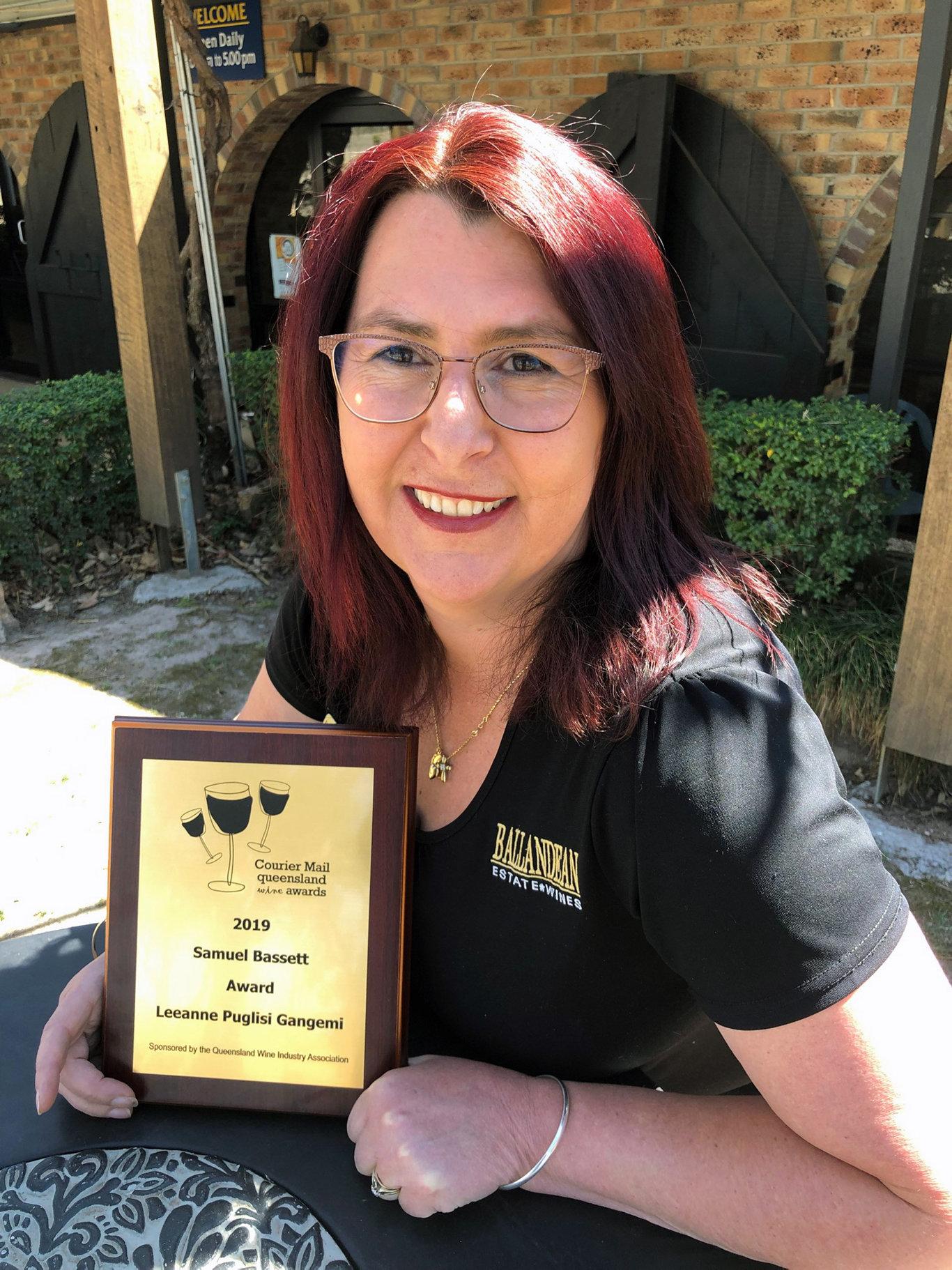 Leeanne Puglisi-Gangemi has been honoured at the 36th Queensland Wine Awards.