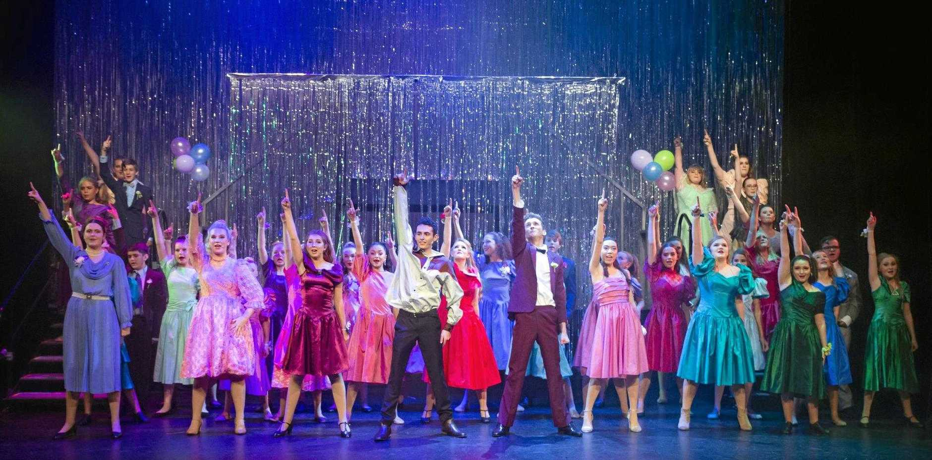 CUTTING LOOSE: The cast of Holy Spirit College's production of Footloose.