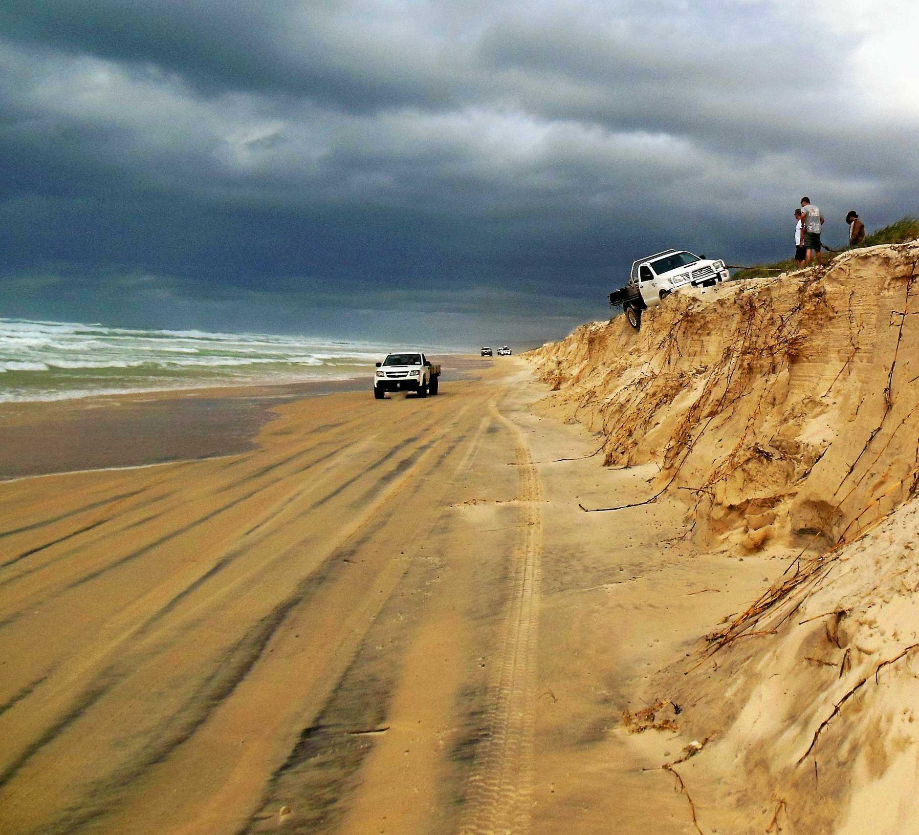 Bad driving at Teewah Beach.