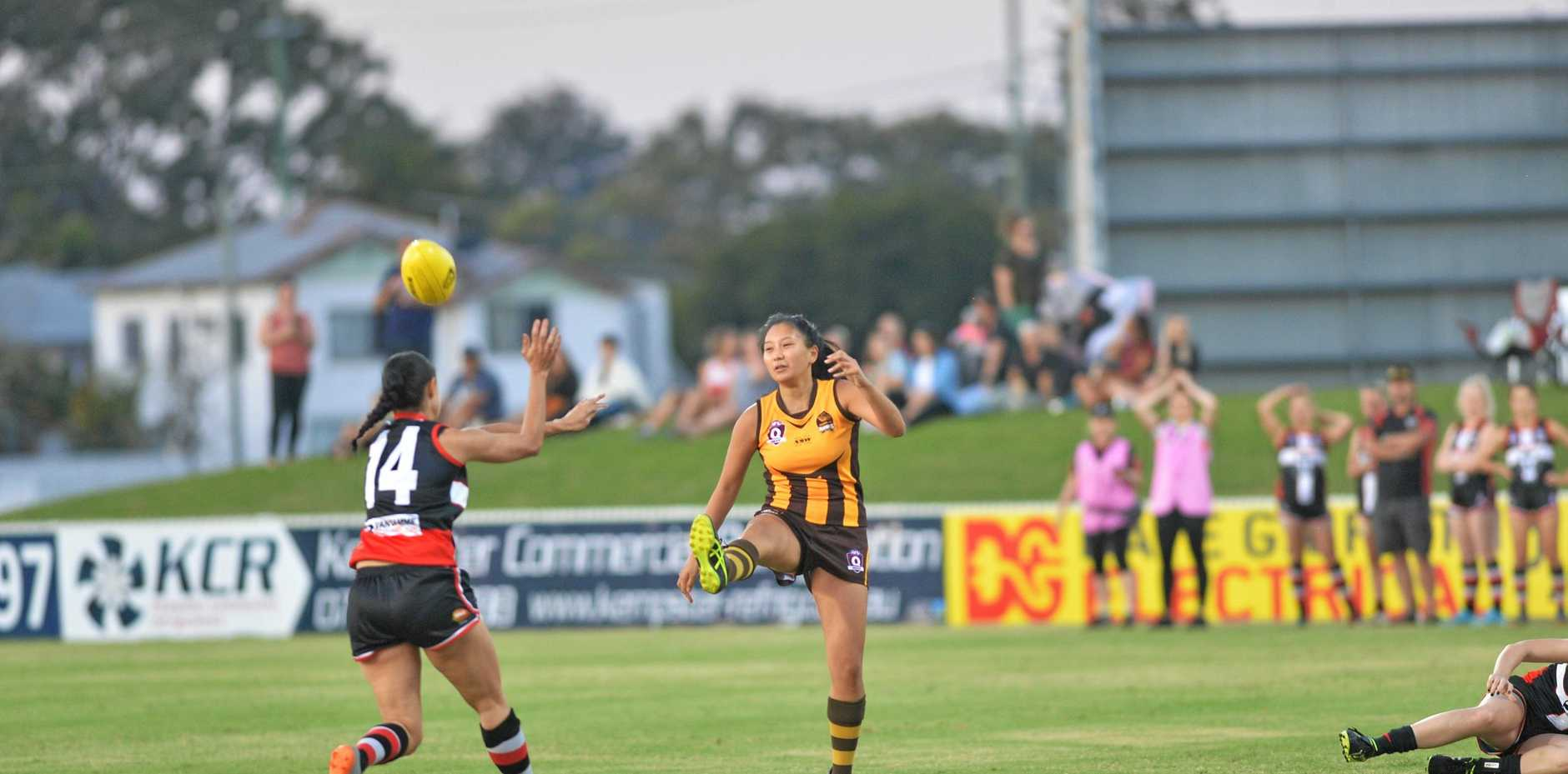 FIRST TIME: Mackay City Hawks will play their first ever grand final against 2018 premiers Bakers Creek Tigers.  INSET: Mackay City Hawks Kelly Hegarty will face her former team in the AFL Mackay women's grand final.