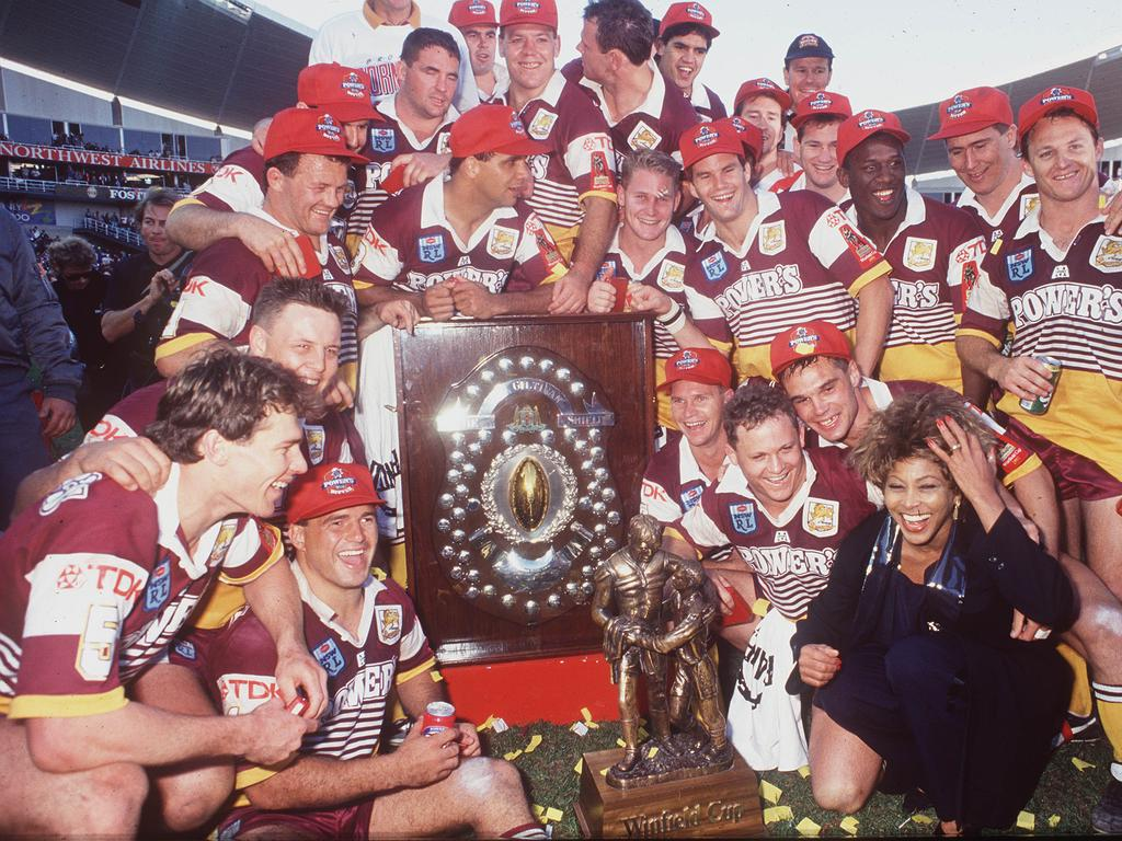 The victorious Brisbane Broncos with Tina Turner after their Grand Final win in 1993. Picture: Action Photographics