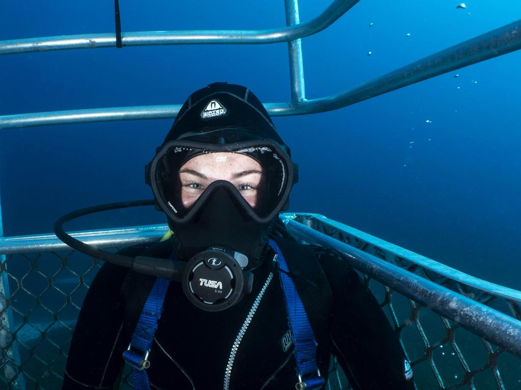 Olivia Johnson during a dive while completing her scholarship.
