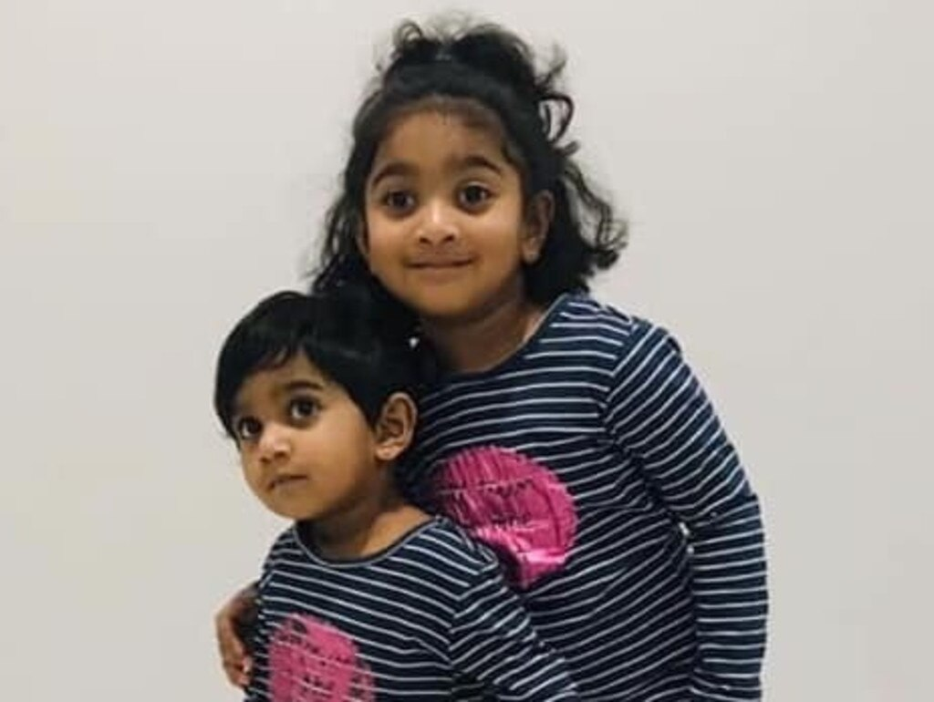 Kopika, 4, and Tharunicaa, 2. Picture: AAP