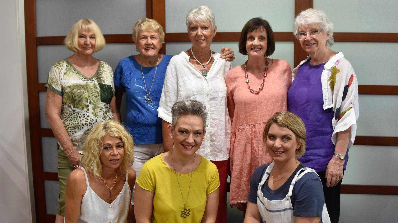 SPRING FASHION: (Front) Michelle Spencer, Annelize Van Niekerk and Tara Evans, (back) Margaret Beaver, Fay Huwson, Thea Holmes, Annie Evans and Kathi Gow at Cancer Council Queensland Noosa Branch's annual fashion fundraiser. Photo: Caitlin Zerafa