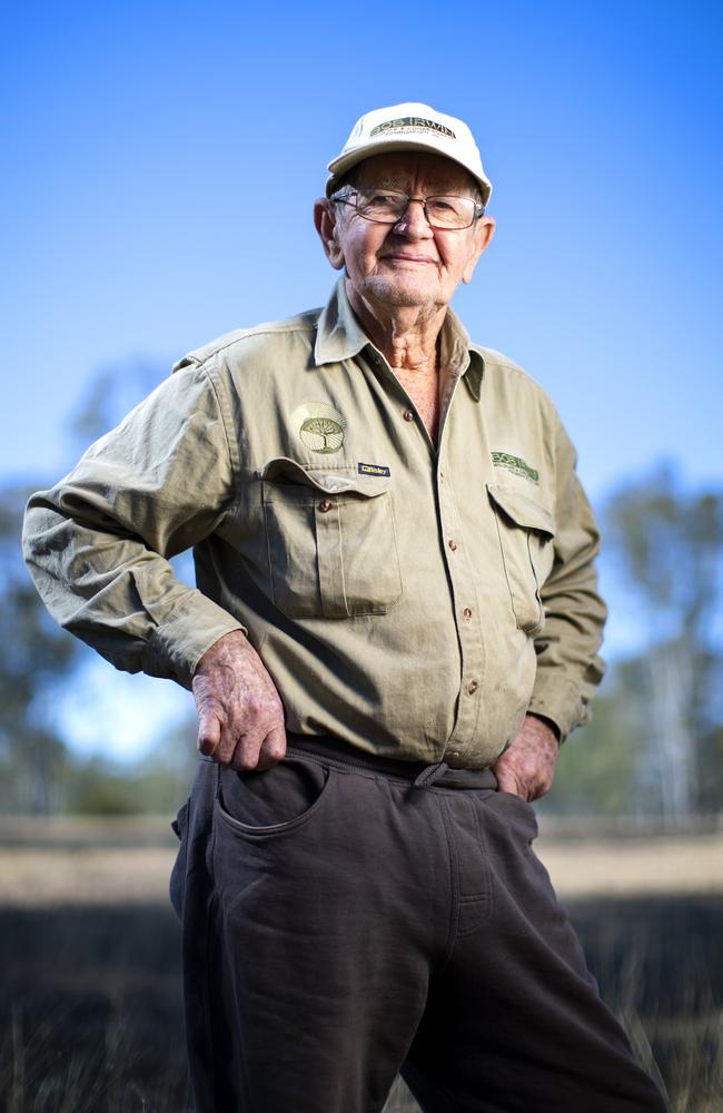 Pioneering Herpetologist and Animal Conservationist Bob Irwin at home on his property near Kingaroy. Picture: Lachie Millard