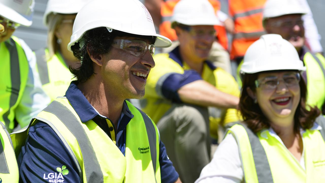 Premier Annastacia Palaszczuk visited the new North Queensland stadium in Townsville, where the first seat was put in place with the help of former North Queensland Cowboys player Johnathan Thurston (PICTURED). PICTURE: Matt Taylor.