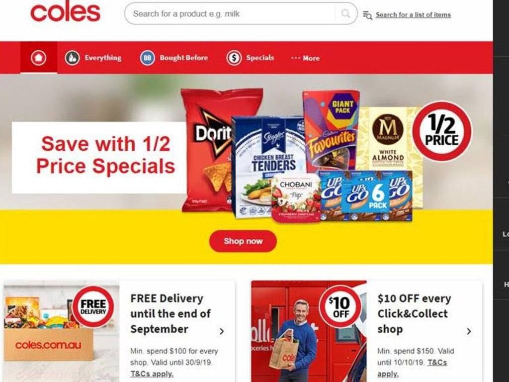 Coles is offering free delivery on its website. Picture: Supplied