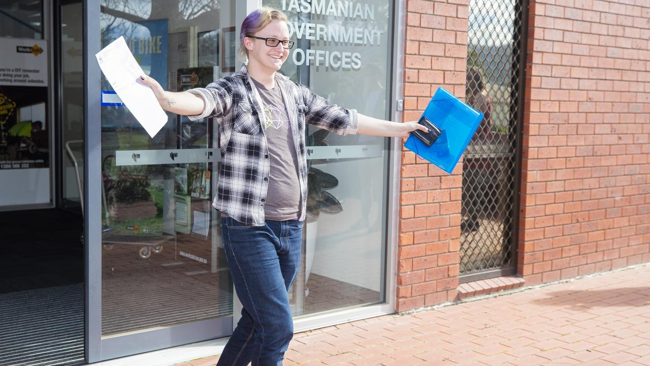 Roen Meijers leaves the Government offices with the new paperwork. Picture: RICHARD JUPE