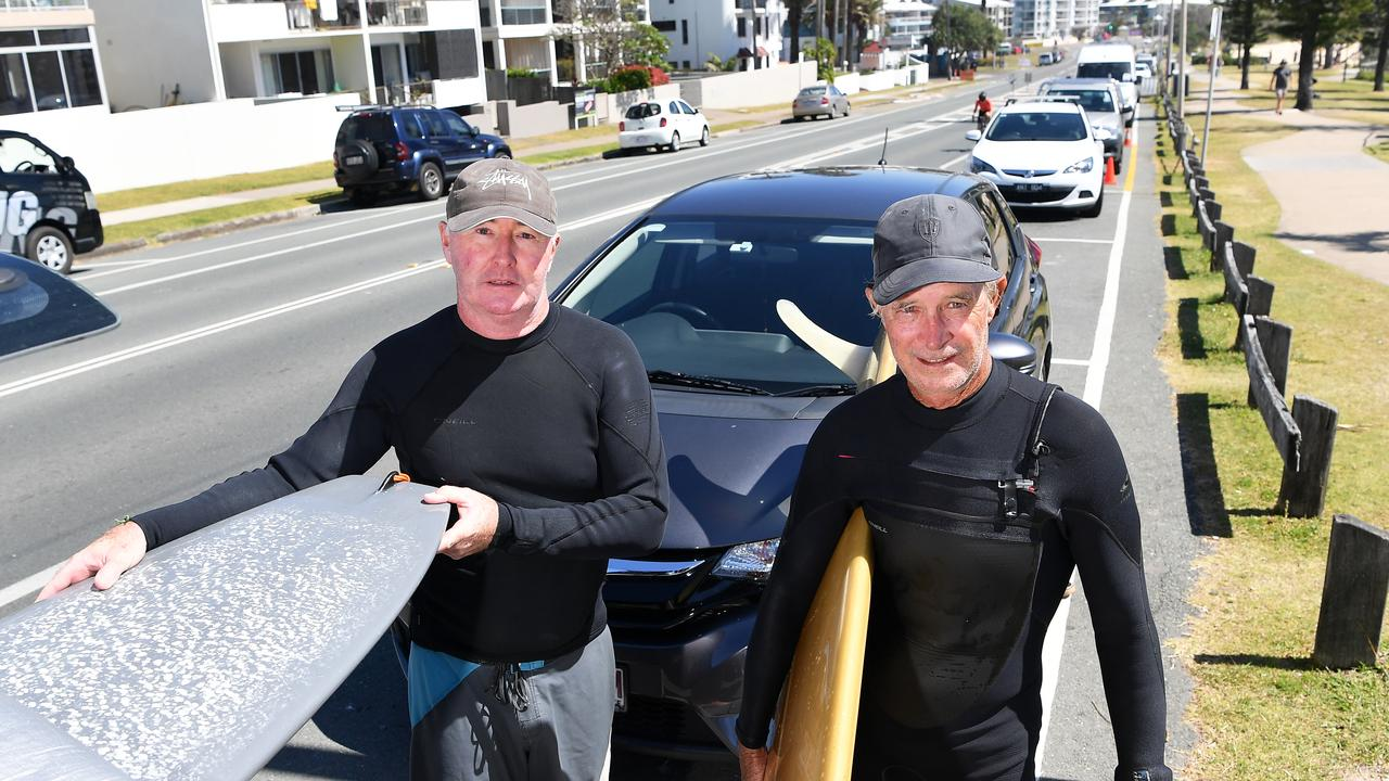 Peter Kelly and Rod Burt are demanding a genuine say in the design of the M2M bikeway from Alexandra Headland to Maroochydore. Picture: Patrick Woods