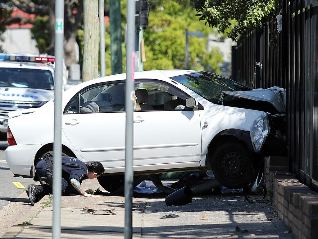 The scene of the fatal crash outside Hurstville Public School.