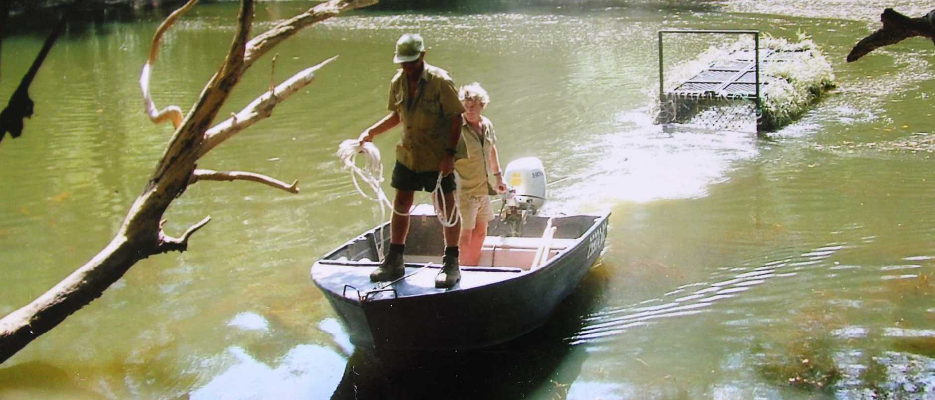 Bob Irwin's favourite photo of he and Steve, with a floating trap on the Nesbit River, Cape York, hangs in his kitchen. Picture: courtesy Bob Irwin and Amanda French