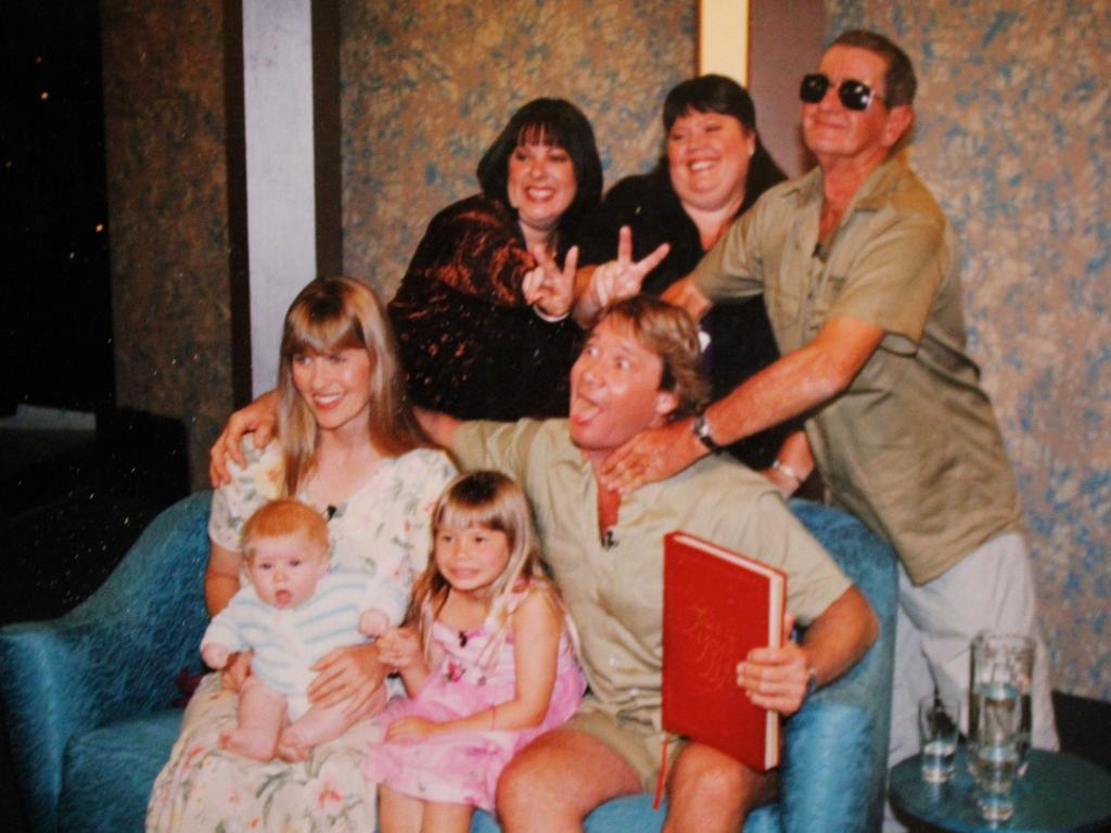 On the set of This is Your Life (aired October 21, 2004) with daughters Joy and Mandy, Steve and his wife Terri, Robert and Bindi. Picture: courtesy of Bob Irwin and Amanda French